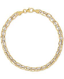 Two-Tone Interlocking Link Bracelet in 10k Gold