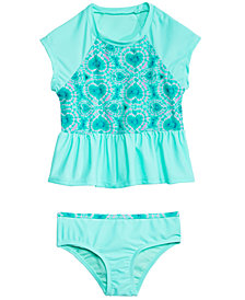 Summer Crush Little Girls 2-Pc. Tie-Dyed Hearts Rash Guard Tankini Swimsuit