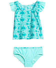 Summer Crush Little Girls 2-Pc. Tie-Dyed Hearts Tankini Swimsuit