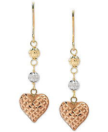 Tricolor Heart & Bead Drop Earrings in 10k Gold, White Gold & Rose Gold