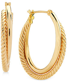Spiral and Polished Double Hoop Earrings in 14k Gold