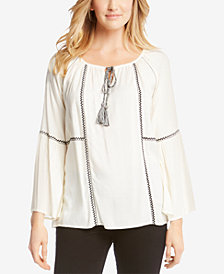 Karen Kane Embroidered Peasant Top