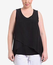 NY Collection Plus Size Crisscross High-Low Top