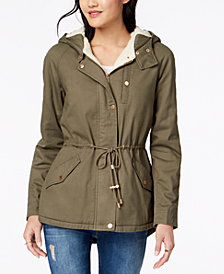 Collection B Juniors' Faux-Fur-Lined Hooded Parka