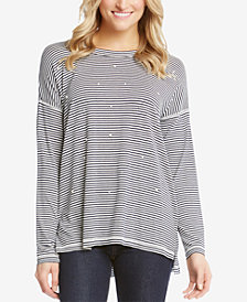 Karen Kane Striped Faux-Pearl-Embellished Top