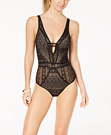 Becca Colorplay Crochet Plunging One-Piece Swimsuit