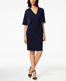 Vince Camuto V-Neck Chiffon Capelet Dress