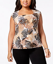 Kasper Plus Size Printed Square-Neck Shell