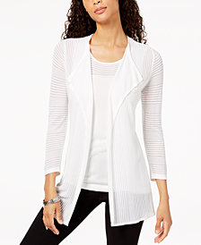 Kasper Shadow-Striped Open-Front Cardigan