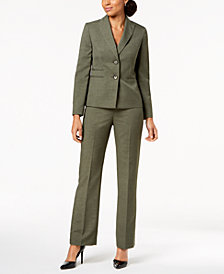 Le Suit Two-Button Melange Pantsuit, Regular & Petite
