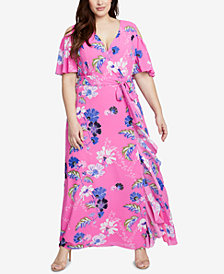 RACHEL Rachel Roy Trendy Plus Size Ruffled Maxi Dress