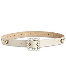 Steve Madden Imitation-Pearl Embellished Belt