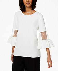 MSK Mesh & Imitation Pearl Bell-Sleeve Top