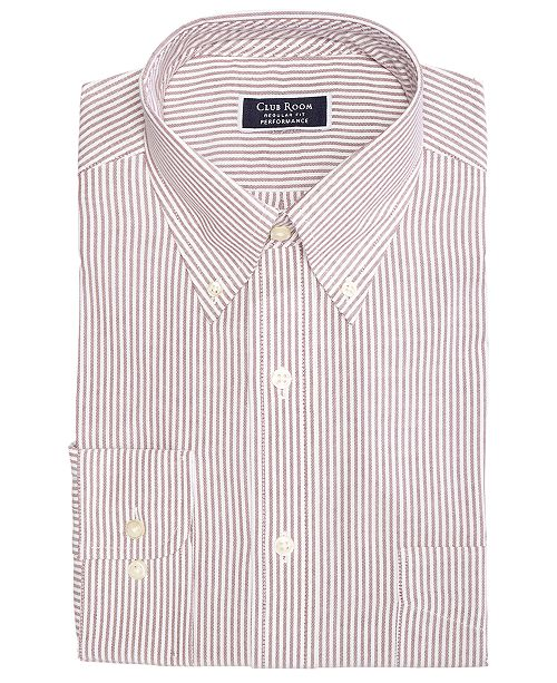 Club Room Men's Classic/Regular Fit Big & Tall Stretch Wrinkle-Resistant University Stripe Dress Shirt, Created for Macy's