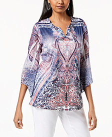 JM Collection Split-Neck Embellished Top, Created for Macy's
