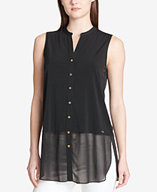 Calvin Klein Sheer-Hem Sleeveless Shirt