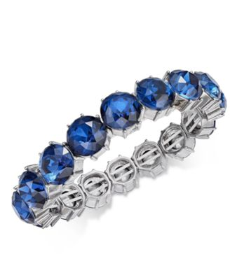 Silver-Tone Stone Stretch Bracelet, Created for Macy's
