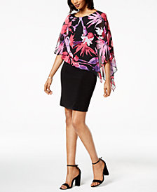 Connected Petite Floral-Print Cape-Overlay Dress