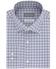 Michael Kors Men's Classic/Regular Fit Non-Iron Airsoft Stretch Performance Blue & Gray Check Dress Shirt