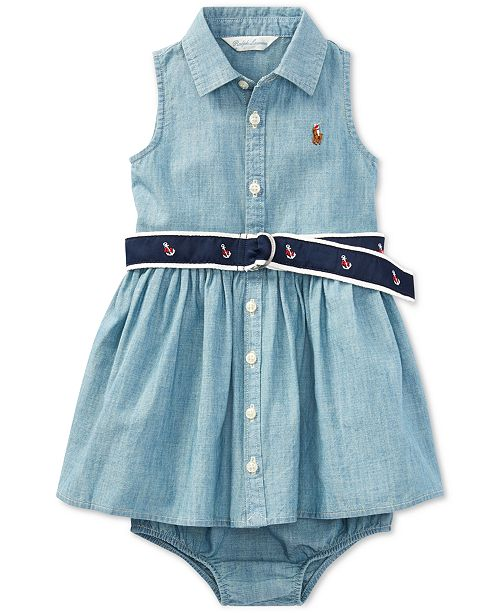 6e44016f91b7 Polo Ralph Lauren Baby Girls Cotton Chambray Shirtdress   Bloomer ...