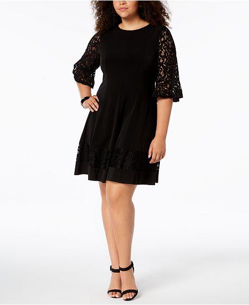 a1f85a0913b6d Jessica Howard Plus Size Lace Bell-Sleeve Dress - Dresses - Women ...