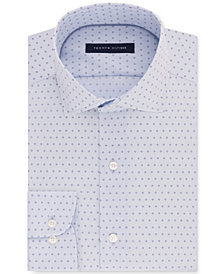 Tommy Hilfiger Men's Classic/Regular Fit Non-Iron Performance Stretch Blue Print Dress Shirt, Created for Macy's
