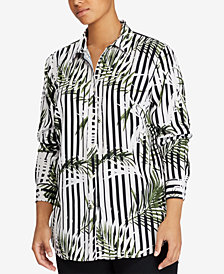 Lauren Ralph Lauren Plus Size Striped Twill Shirt