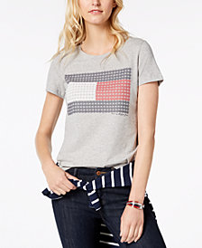 Tommy Hilfiger Floral Flag-Logo T-Shirt, Created for Macy's