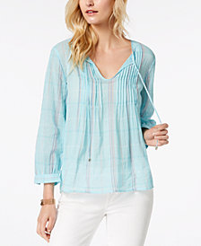 Tommy Hilfiger Printed Peasant Top, Created for Macy's