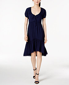 Anne Klein Fit & Flare Tiered Peasant Dress