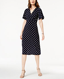 Jessica Howard Petite Polka-Dot Midi Dress
