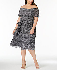 MICHAEL Michael Kors Plus Size Leopard-Print Off-The-Shoulder Dress