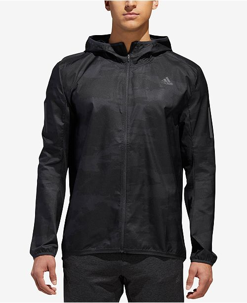 adidas Men's Camo-Print Water-Repellent Running Jacket (Black)