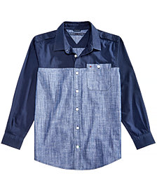 Tommy Hilfiger Big Boys Toby Cotton Poplin & Chambray Shirt