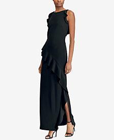 Lauren Ralph Lauren Ruffle-Trim Crepe Gown