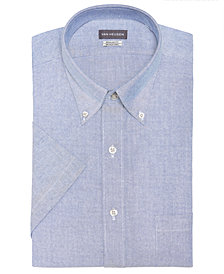 Van Heusen Men's Classic-Fit Flex Collar Wrinkle Free Short-Sleeve Oxford Dress Shirt