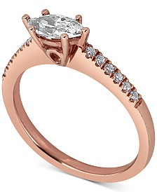 Diamond East West Marquise Engagement Ring (5/8 ct. t.w.) in 14k Rose Gold