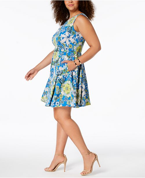 Blue Fit Flare Size Floral amp; Multi Taylor Dress Print Plus Wxaq8IZw17