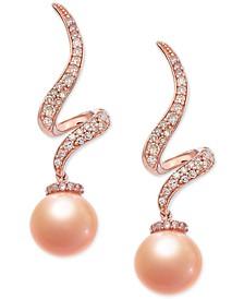 Pink Cultured Freshwater Pearl (7-1/2 mm) & Diamond (1/4 ct. t.w.) Swirl Drop Earrings in 14k Rose Gold
