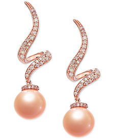 Pink Cultured Freshwater Pearl (7-1/2 mm) & Diamond (1/4 ct. t.w.) Swirl Drop Earrings in 14k Rose Gold