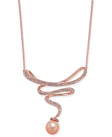 "Pink Cultured Freshwater Pearl (8-1/2 mm) & Diamond (1/2 ct. t.w.) 15-1/2"" Pendant Necklace in 14k Rose Gold"