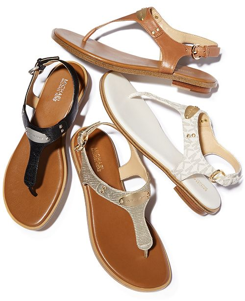 47f27fe4b4a5 Michael Kors MK Plate Flat Thong Sandals   Reviews - Sandals   Flip ...