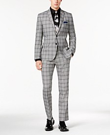 Men's Slim-Fit Black/White Crepe Plaid Suit