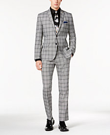 Nick Graham Men's Slim-Fit Black/White Crepe Plaid Suit