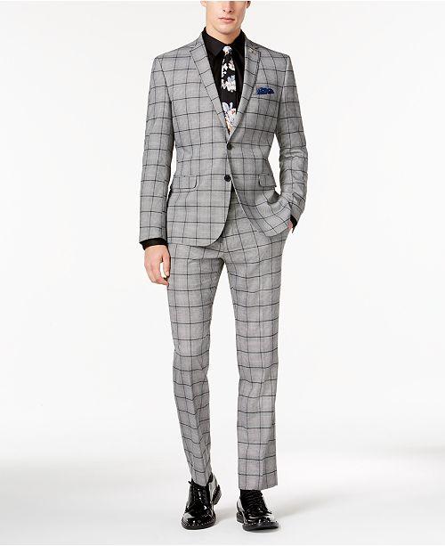 Nick Graham Men's Slim-Fit Black/White Crepe Plaid Suit