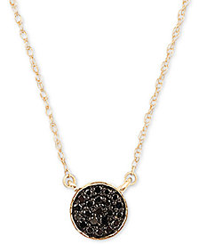 "Elsie May Diamond Accent Button Pendant Necklace in 14k Gold, 15"" + 1"" extender"