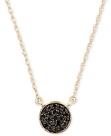 """Elsie May Diamond Accent Button Pendant Necklace in 14k Gold, 15"""" + 1"""" extender, Created for Macy's"""
