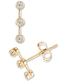 Diamond Accent Bezel Bar Stud Earrings in 14k Gold, Created for Macy's
