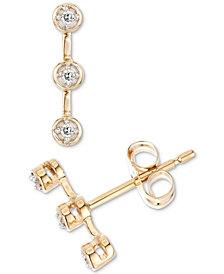 Elsie May Diamond Accent Bezel Bar Stud Earrings in 14k Gold, Created for Macy's