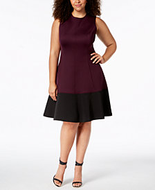 Calvin Klein Plus Size Colorblocked A-Line Dress